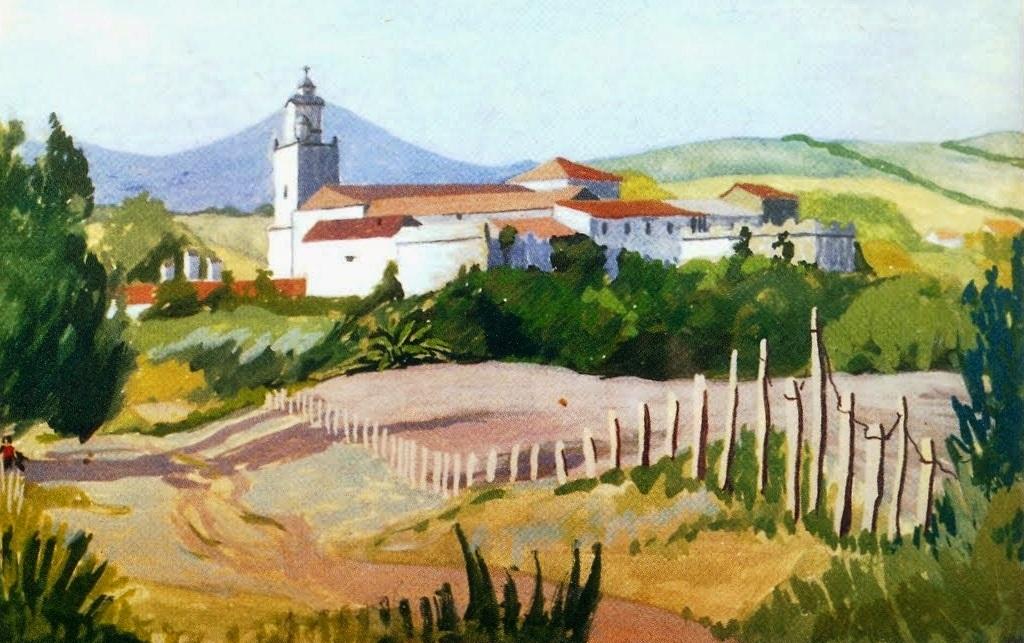 Santuario de Nuestra Señora de los Ángeles de La Estación. Cuadro de óleo de Patricia Fender. Fuente: Eduardo Sáenz de Varona