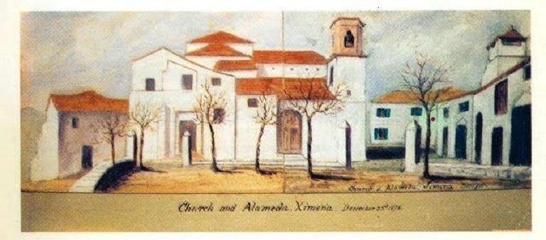 Litografía de 1878 de autoría inglesa que recoge lo que fue la iglesia Santa María La Coronada de la que solo se conserva el campanario. Fuente: Andrés Macías Sánchez.
