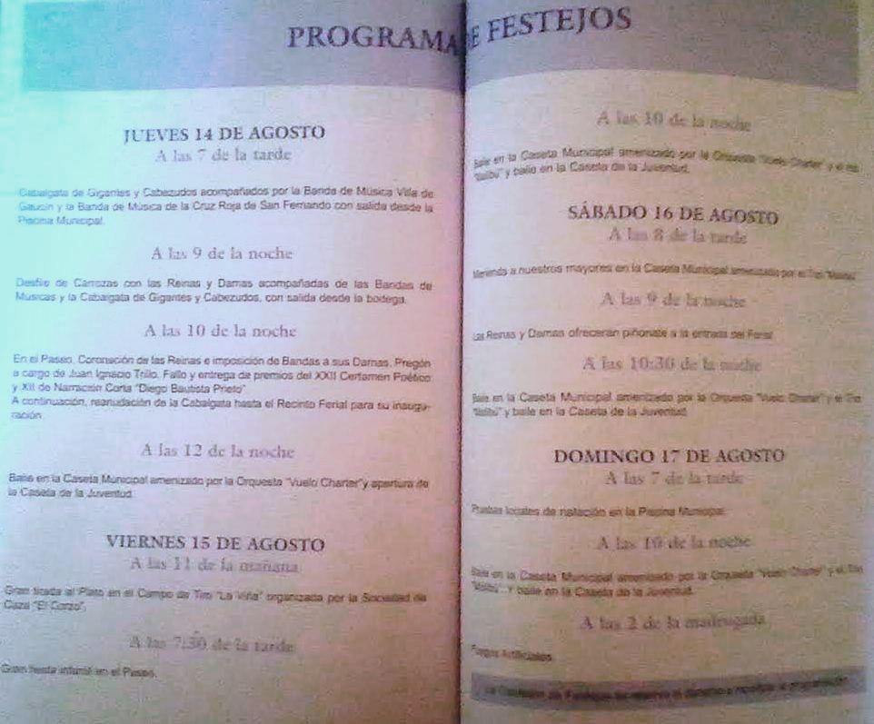 Programa de feria de agosto 2003. Ayuntamiento de Jimena. Ediciones OBA.