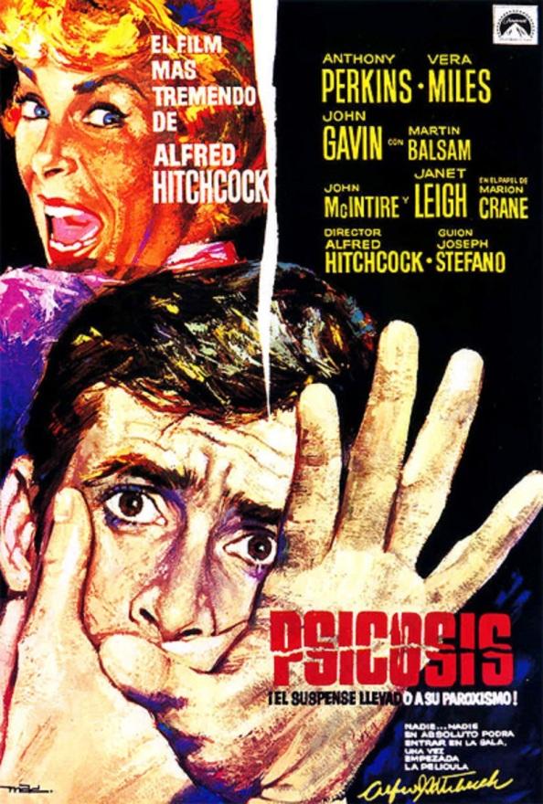 """Cartel de la película """"Psicosis"""" de Alfred Hictkoch que me tendría acojonado varias noches de insomnio tras contármela mi madre."""