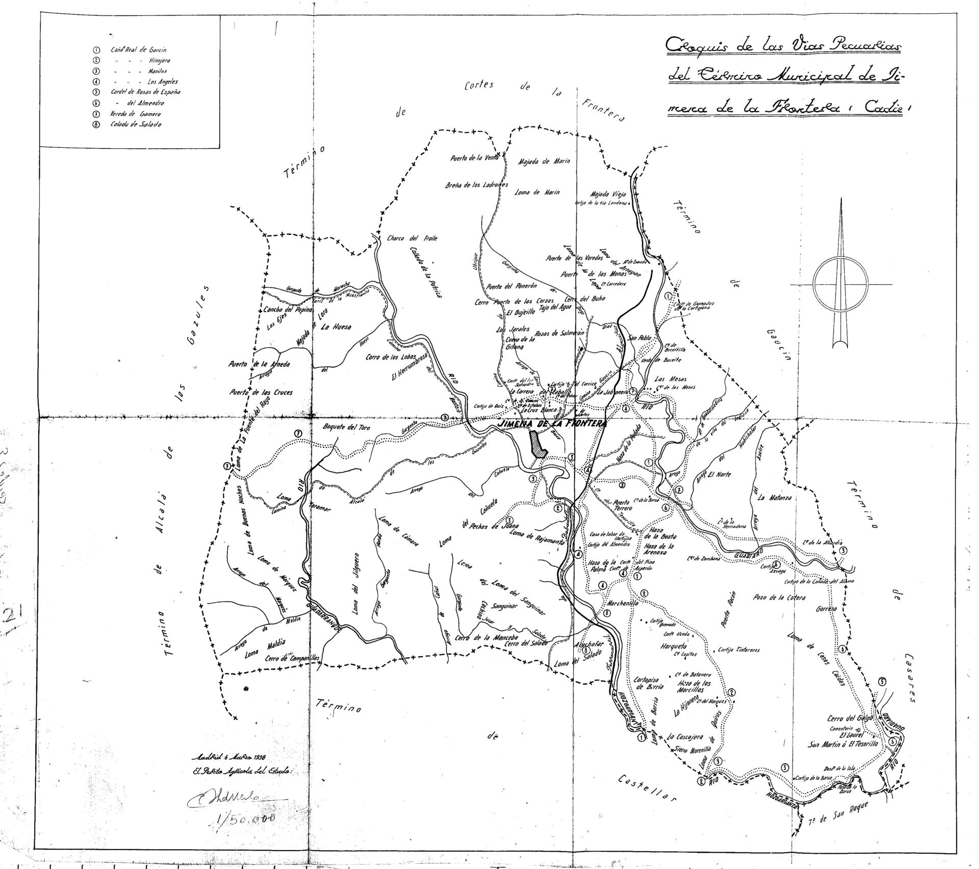 Red de vías pecuarias del término municipal de Jimena