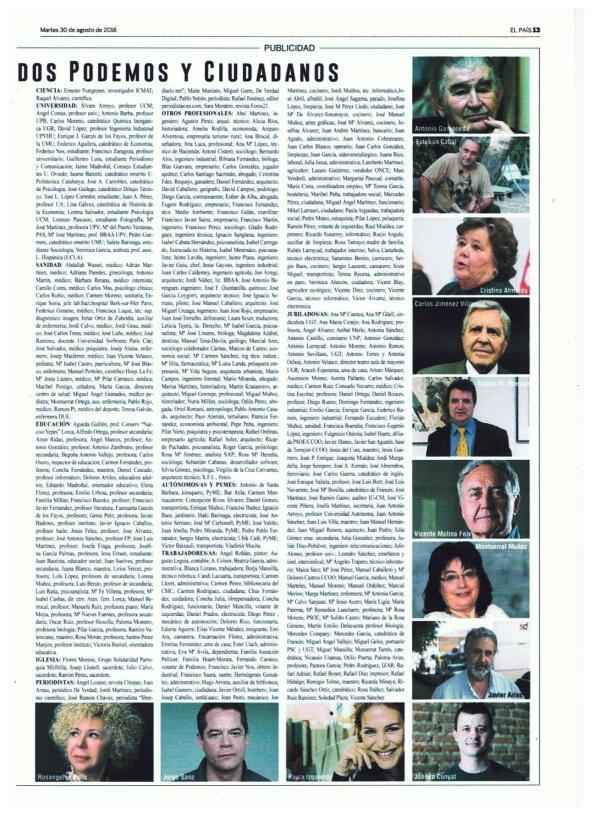 Manifiesto: Por un Gobierno de Progreso 3 Página 13. Diario El País 30.08.2016