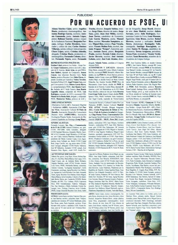Manifiesto 3 Gobierno Progreso El País 30.08.2016