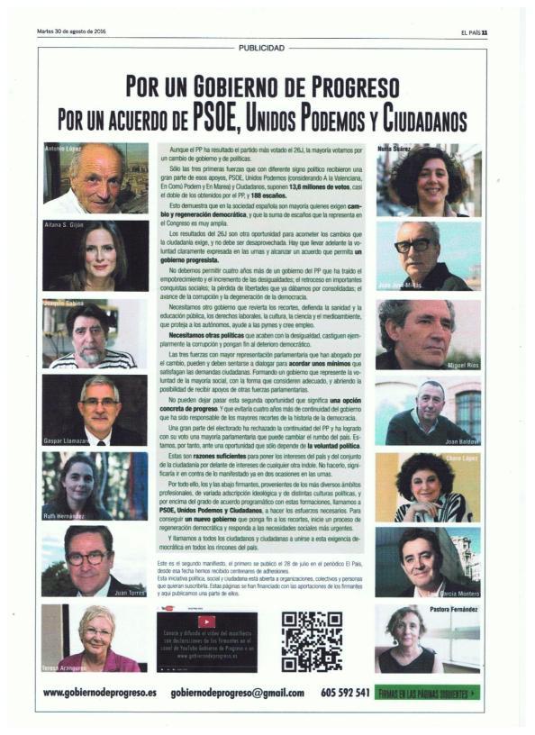 Manifiesto: Por un Gobierno de Progreso 1 Página 11. Diario El País 30.08.2016.