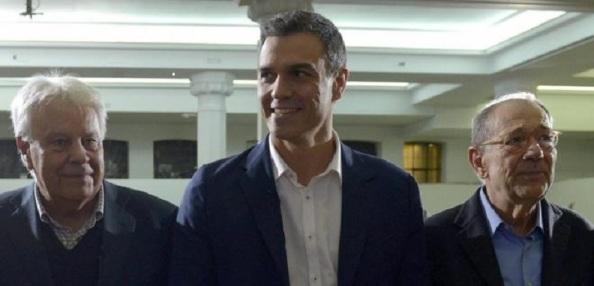 Felipe González, Pedro Sánchez y Javier Solana.