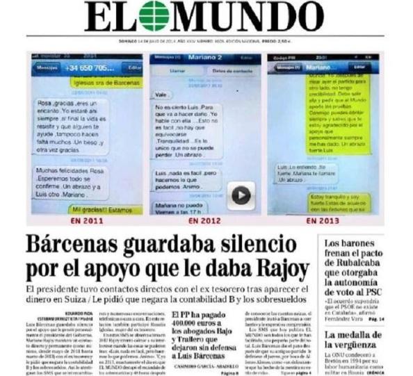 La portada que del diario El Mundo sacó Rivera en el debate preelectoral que fue televisado