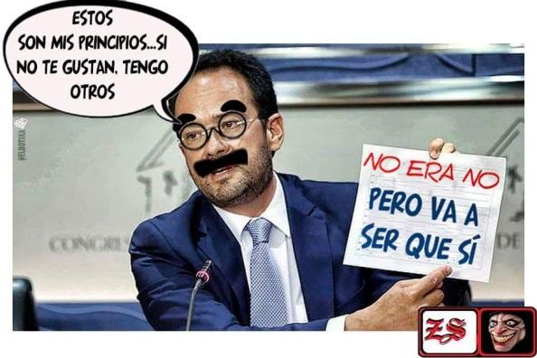 Y recordar a Antonio Hernando, el talibán del No es No a Rajoy, hasta ayer como portavoz de Antonio Hernando es de risa. De ahí esta caricatura a lo Groucho Marx