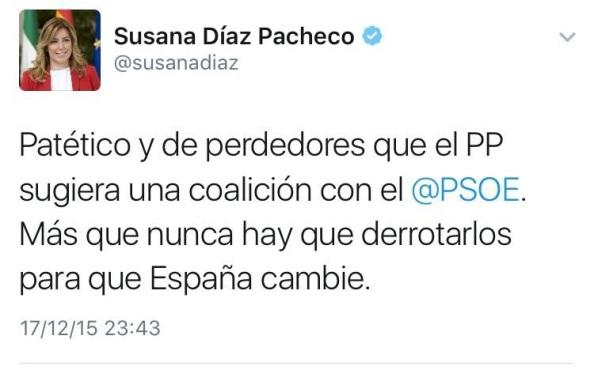 También la que hoy lidera el giro del PSOE para su abstención ante Rajoy, tampoco se opuso al No a Rajoy.