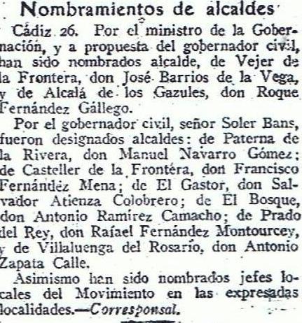 El nombramiento del alcalde de Castellar, Francisco Fernández Mena, junto a otros, se había producidodos años y medio antes. Diario ABC 27.02.1958
