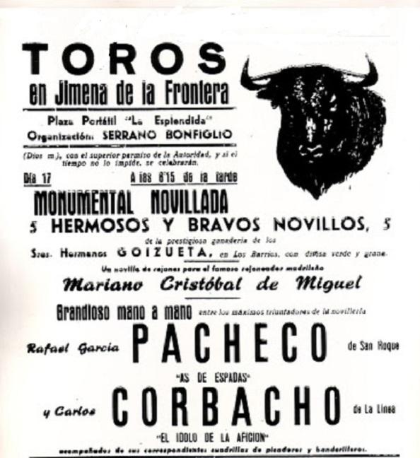 Cartel de toros un año después donde torearía Carlos Corbacho en el momento en que se hundió la plaza