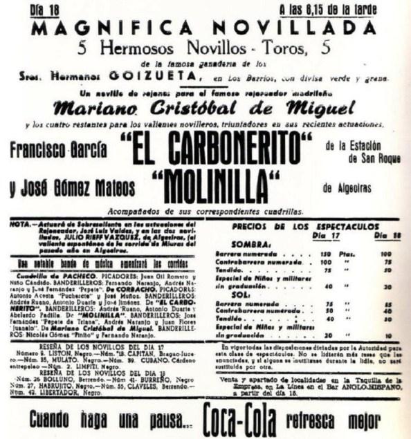 La corrida de novillo del día 18 de agosto de 1061 donde toreaba, Francisco García