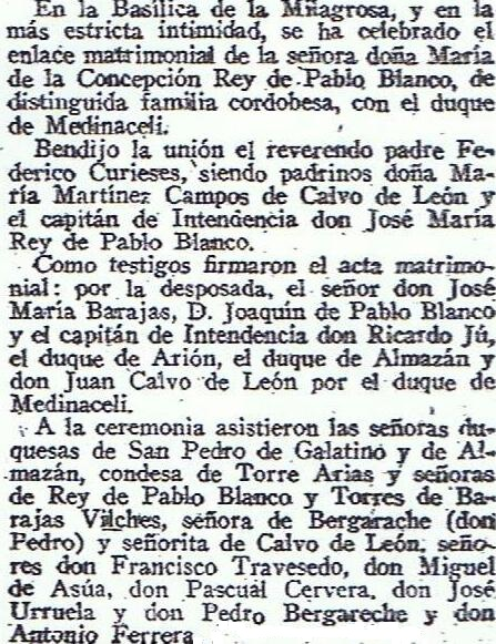 A diferencia de la primera portada y reportaje gráfico que mereció en el diario ABC la primera boda en el año 2011 la boda del Duque de Medinaceli, sus segundas nupcias solo mereció la última nota de la página de Sociedad Ecos Diversos. Fuente: Diario ABC, 24.12.1939.