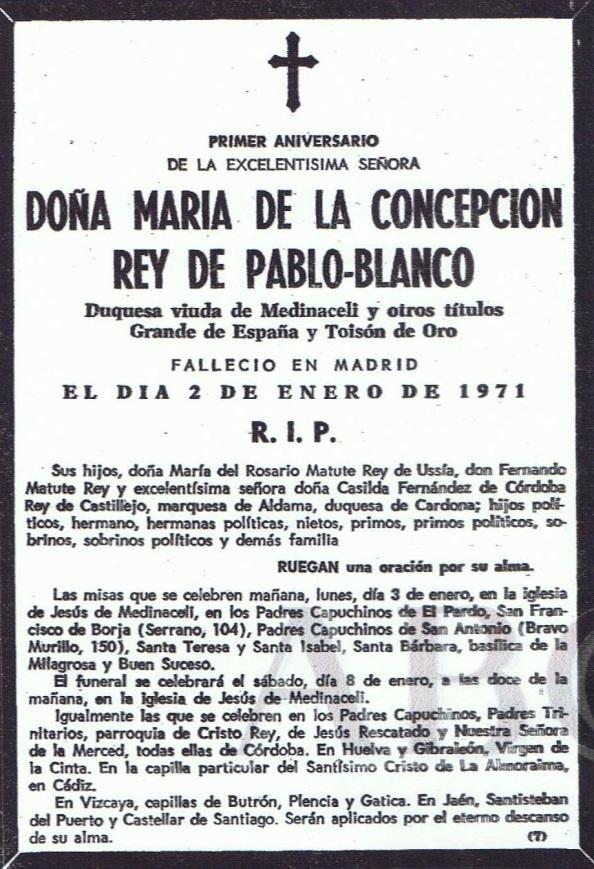 Un año antes de la venta de las propiedades del Duquesado de Medinaceli en Castellar a Rumasa, falleció la Duquesa. Se habían casado en el año 1959 y ella aportaba ya dos hijos, Casilda y Fernando.