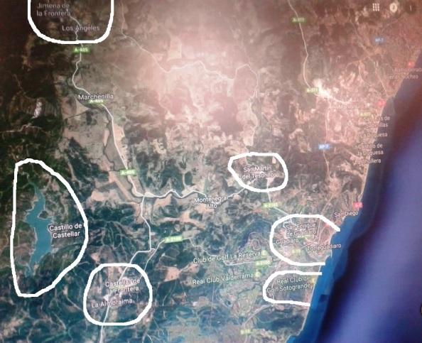 Ubicación en el Google Map de Jimena de la Frontera y la Estación de los Ángeles, el Castillo de Castellar junto al Embalse sobre el Guadarranque, La Almoraima y Castellar Nuevo, colinndante a ambos laterales de la carretera provincial, A-405, de Algeciras a Ronda, San Martín del Tesorillo, y la Urbanización de La Alcaidesa junto a Sotogrande y antesala del litoral mediterráneo