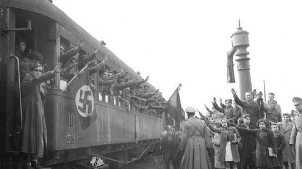 Salida desde distintos puntos de la geografía española de los voluntarios de la División azul con destino inicial a Alemania para hacer el periodo de instrucción.