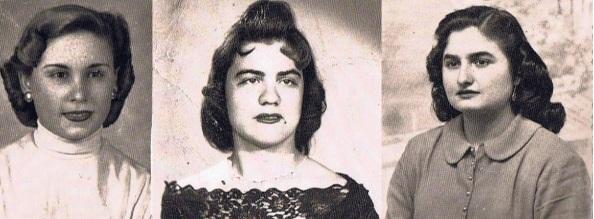Peinados de finales de la década de los cuarenta y comienzo de los cincuenta. Las jimenatas: Antonia Torres Luque, Rosa Rodríguez Macías y Ana Mari Montero Torres. Fuente ediciones OBA.