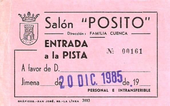 Entrada de baile para el Pósito que estaba situado en calle Sevilla, enfrente y más arriba del edificio del ayuntamiento de Jimena en lo que ahora es Casa de la Cultura. Fuente: Tíojimeno.
