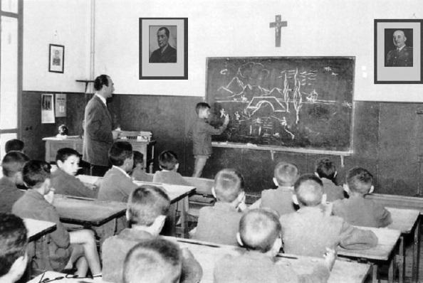 La Escuela Nacional, presidida por una cruz en el centro, el Dictador Franco a la derecha y José Anrinio Primo de Rvera, fundador de Falange Española a la izquierda. Fuente: Google.