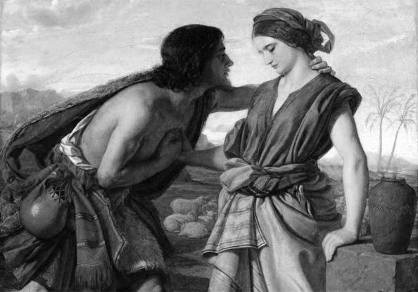 Sara con el profeta Jacob, que a su vez tendria de esposo de su hermanaa y de dos sirvientas, y moriría al dar a luz a su segundo hijo. Fuente: Apunte de Biblia.