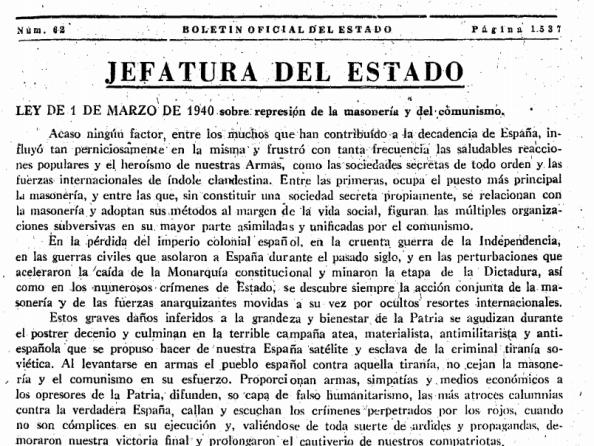 Ley contra la Masonería Montero