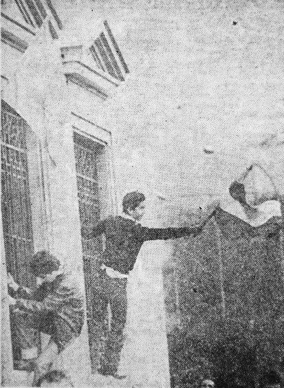 4 de diciembre manifestac Diputación niño bandera sur b y n