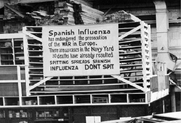 gripe española muestra-contagiados-muertos-construccion-Filadelfia
