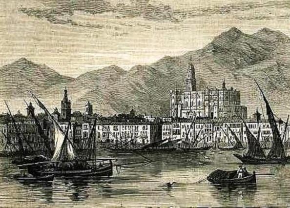 puerto de málaga 1869 grabado en madera revista francesa de turismo