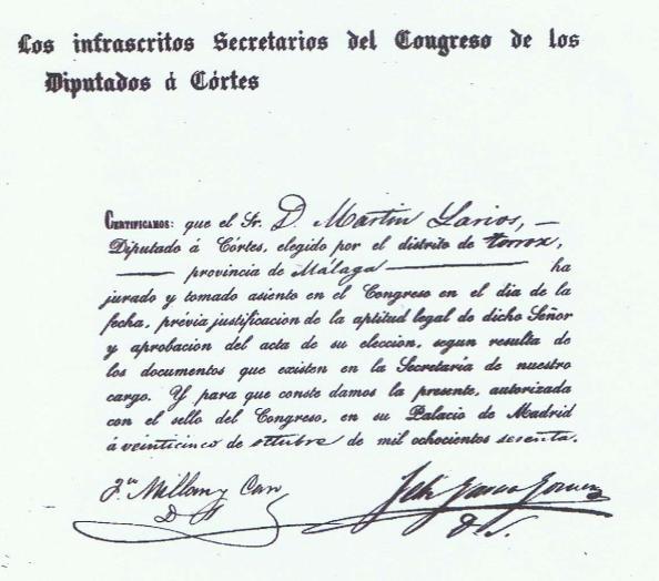 Martín Larios acta de diputado 1860 corto