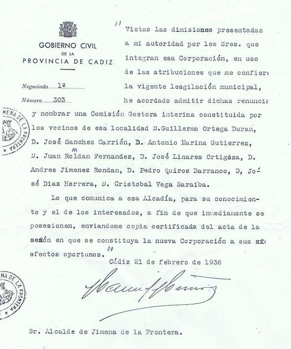 Corporación de Jimena 22.02.1936